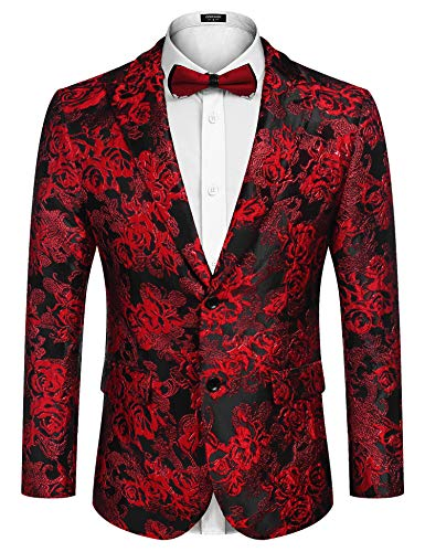 COOFANDY Men's Floral Tuxedo Jacket Rose Embroidered Suit Jacket Wedding Prom Dinner Party Blazer (Red%, XX-Large)