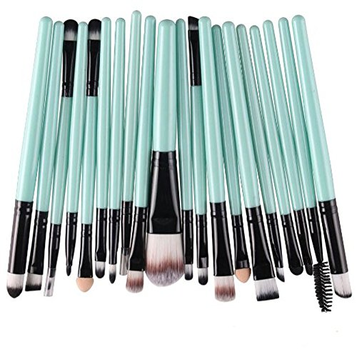 KOLIGHT Pack of 20pcs Cosmetic Eye Shadow Sponge Eyeliner Eyebrow Lip Nose Foundation Powder Makeup Brushes Sets (Green&Black)