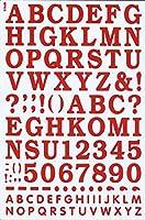 (シャシャン)XIAXIN 防水 PVC製 アルファベット ナンバー ステッカー セット 耐候 耐水 ローマ字 数字 キャラクター 表札 スーツケース ネームプレート ロッカー 屋内外 兼用 TS-533 (1点, レッド)