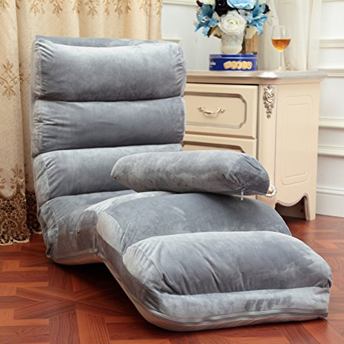 Pliable Chaise de plancher,Individuel Style japonais Divan-lits,Imperméable Canapé pliant,Réglable Canapé paresseux,Chaise de dossier Mini canapé Une lecture parfaite et regarder coussin tv-Gris