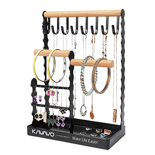Porte bijoux, porte collier Présentoir de boucle d'oreille Arbre à bijoux avec plateau à anneaux en bois et crochets de rangement Colliers, bracelets, bagues, montres Support organisateur.