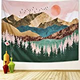 ARFBEAR Mountain Tapestry Forest Tree Popular Wall Hanging Tapestry Nature Landscape Green and Brown Beach Blanket(Large-79 x 59 in) …