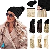XBwig Beanie Hat With Hair Wigs For Women 20 inch Long Curly Wavy Synthetic Detachable Wig Warm Soft Ski Knitted Winter Cap With Black Pom Pom Ash Blonde Mix Bleach Blonde -Black Hat
