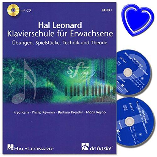 Hal Leonard Klavierschule für Erwachsene Band 1 mit 2 CDs von Fred Kern - Übungen, Spielstücke, Technik und Theorie - mit bunter herzförmiger Notenklammer