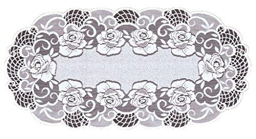 M-Decor Chemin de table ovale en dentelle et motif floral Blanc 60 x 120 cm