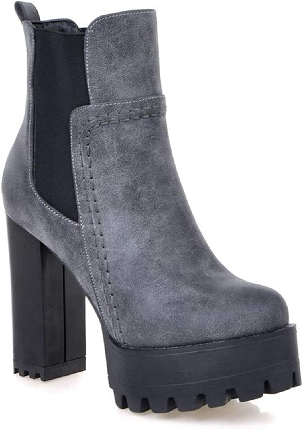 Kyle Walsh Pa Women Fashion Ankle Boots High Square Heel Round Toe Platform Autumn Winter Booties