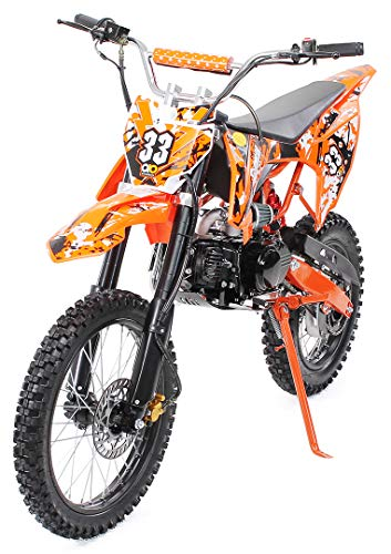 Kinder Jugend Crossbike Enduro Motocrossbike 125cc 4Takt Motocross Motorrad Cross 84cm Sitzhöhe für Jugendliche 17 Zoll Vorderrad (Orange)