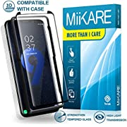 Samsung Galaxy S9 Plus/S9+ Tempered Glass Case-Friendly Edge Adhesive Full Screen Protector Clear 3D Curved Accurate Sensitivity with Installation Tray Lifetime Guaranty MiiKARE