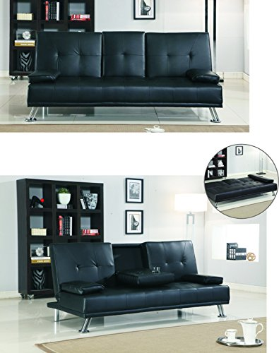 Comfy Living Cinema Style Futon Sofabed With Drinks Table Sofa Bed Faux Leather in Black