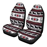 FKELYI Tribal Horse Pattern Front Seat Covers 2 pcs Vehicle Seat Protector Navajo Print Car Mat Covers Fit Most Car Truck SUV or Van