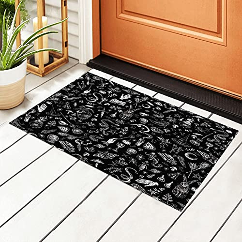 Welcome Waterproof PVC Backing Entrance Patio Pad,Waterproof PVC Backing Rug Door Mat Gothic Black Witch Art Non-Slip Entryway Outdoor Indoor Doormat Home Entrance Patio Padwelcome