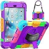 SEYMAC iPad Mini Case for Kids, iPad Mini 5/4 Case Full Protection Sturdy Case Cover with Screen Protector Hand Strap Kickstand Shoulder Strap Pencil Holder for iPad Mini 5th/4th Gen - Camo/Purple