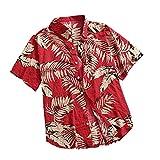 Camisa de verano para hombre estilo playa verde hoja impresión hawaiana camisa casual manga corta