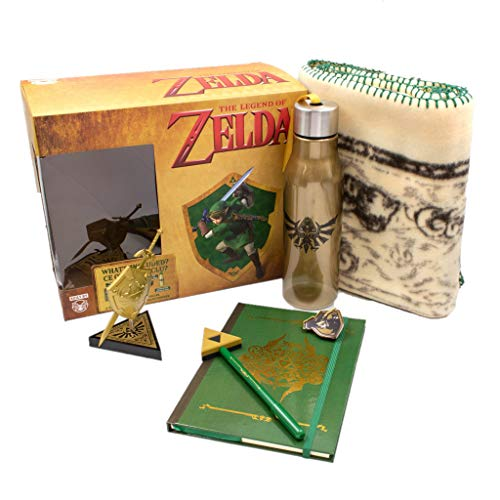 CultureFly Legend of Zelda Collector's Box | Contains 6 Exclusive Items Including Map Blanket, Link Pin, Gold Hylian Shield Vinyl and More
