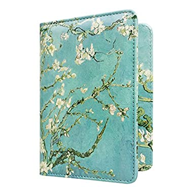 WALNEW Passport Holder Cover RFID Blocking Case Travelling Passport Cards Carrier Wallet Case (Tree and Flowers)
