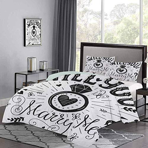 Yoyon Kinder 'Quilt-Set mit westlichem Thema' Heiraten Sie Mich Zitat mit Herzen Celebration Image Premium Quilt Cover Leicht zu reinigen Schwarz und Weiß