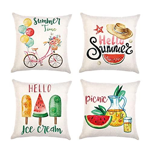 Gukasxi 4 fundas de almohada de Hello Summer Summer Summer Time, funda de cojín decorativa para decoración del hogar, sofá, cama y fiesta de verano, 45,7 x 45,7 cm