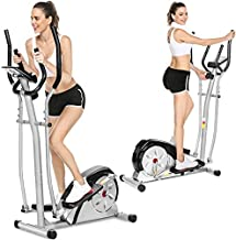Aceshin Elliptical Machine Magnetic Elliptical Training Machine for Home Use Elliptical Training Machines with LCD Monitor Smooth Quiet Driven Pulse Rate Grips (Silver)