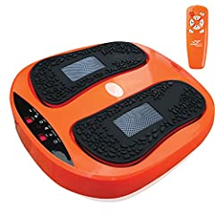 VIBRATION FOOT MASSAGER MACHINE: with Adjustable Speed: Includes feet massager unit, wireless remote control, silicone pads, easy to read program display, time control, varying speed / intensity levels. Remote Batteries Not Included FOOT MASSAGER WIT...
