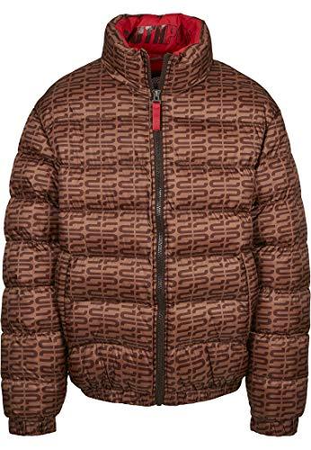Southpole Herren Puffer Winterjacke Logo AOP Jacket, Braun, XL