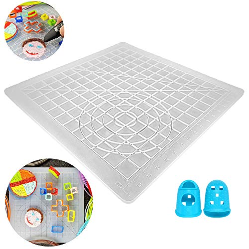 FafSgwq 3D Printing Pen Silicone Mat Multi-Shaped Kids Drawing Template with Finger Caps for School Stationary, Camouflage Gifts Clear#