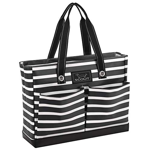SCOUT Uptown Girl Multi-Pocket Tote Bag, Water Resistant, Zips Closed, Fleetwood Black