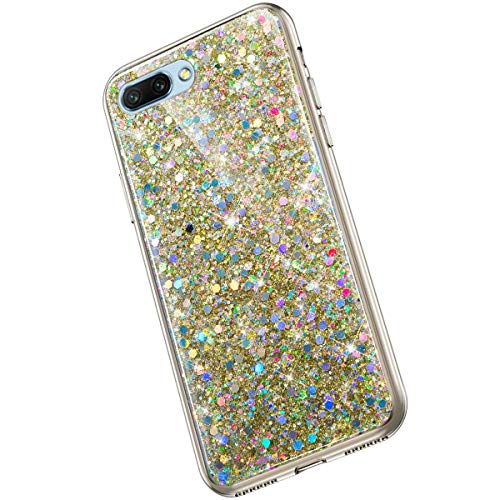 Saceebe Compatible avec Huawei Honor 10 Coque Silicone Paillette Strass Brillante Bling Glitter Housse Transparente Gel Silicone TPU Bumper Crystal Clear Housse Etui de Protection,Or