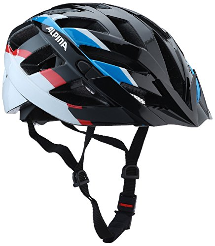 ALPINA PANOMA Fahrradhelm, Unisex– Erwachsene, black blue-red, 52-57