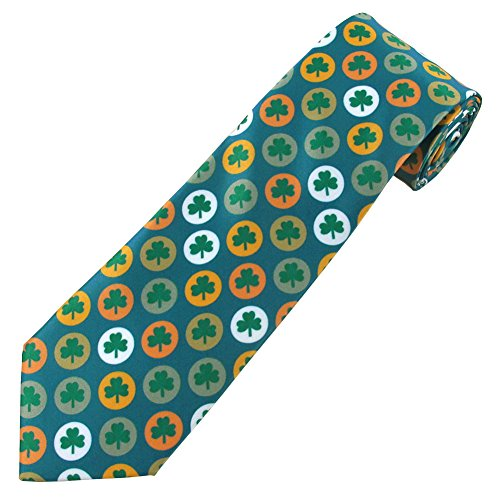 Jacob Alexander Men's St. Patrick's Day Shamrock Circles Regular Length Neck Tie
