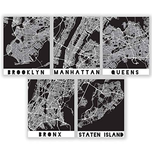 Five Boroughs NYC Map Prints - New York City Wall Art Black & White | Manhattan Brooklyn Bronx Queens Staten Island | New York Posters | Street Maps for The City & Boroughs | 8x10 UNFRAMED PRINTS