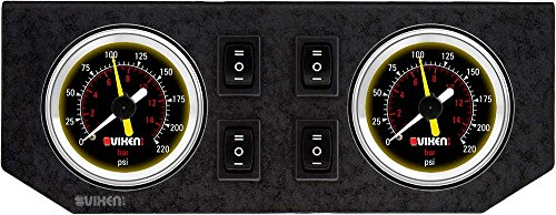 Vixen Air Two 2' Dual Needle Air Pressure Black Gauges with Four Momentary Switches and Metal Dash Panel Kit VXF2GP4RKB