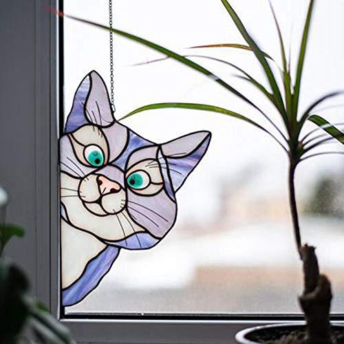 NRRN Buntglas-Katzen-Fensterbehang, aufsehenerregende Katze, Buntglasscheiben, Fensterdekoration, Zuhause, Auto, Fenster, Hängeornamente