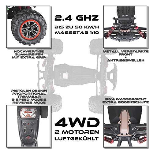 RC Auto kaufen Monstertruck Bild 5: RC Monstertruck 1:10 FPS V10 Offroad Elektro Auto - Dual Motor bis zu 50 km/h - 4WD - Allradantrieb, IPX4 Wasserdicht, 34cm, Differentiale, 2.4G Fernbedienung, 2 Speed Modes, inkl. 2x LiPo Akku, 4x AA*