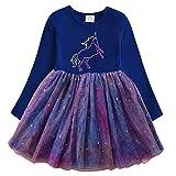 VIKITA Vestido Invierno Manga Larga Tul Algodón Bordado Unicornio para Niñas LH4993 3T