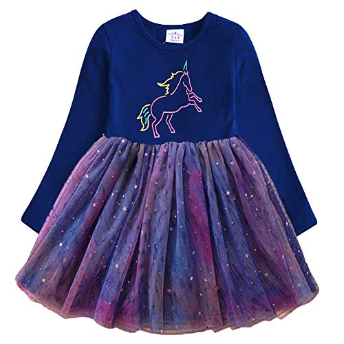 VIKITA Vestito Cotone Stampa Principessa Tulle Tutu Festa di Compleanno Abito Bambina LH4993 3T
