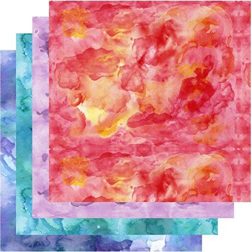 Watercolor HTV, Shades of Red Orange Blue Teal Purple HTV, 4-12'x12' Bundle, Free Transfer Sheet