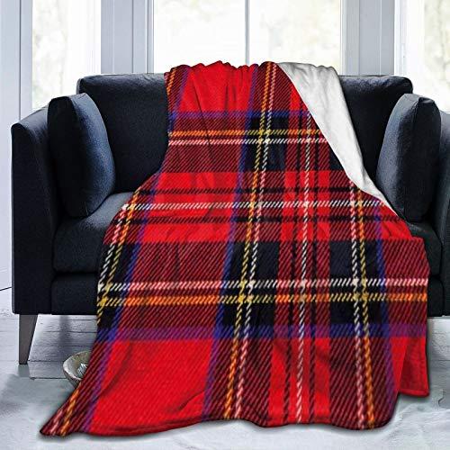 Bernice Winifred Royal Stewart Tartan Red Black Plaid Ultra-Soft Micro Fleece Blanket Hecho de Franela Anti-Pilling, más cómoda y cálida.50x40