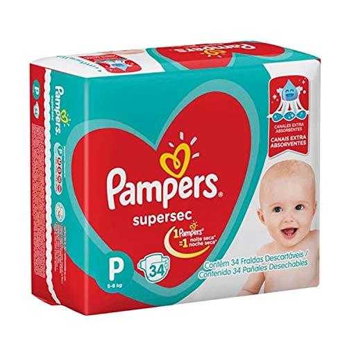 Fralda Infantil Pampers Supersec, com 34 Fraldas Descartáveis, Tamanho P, PAMPERS SUPERSEC