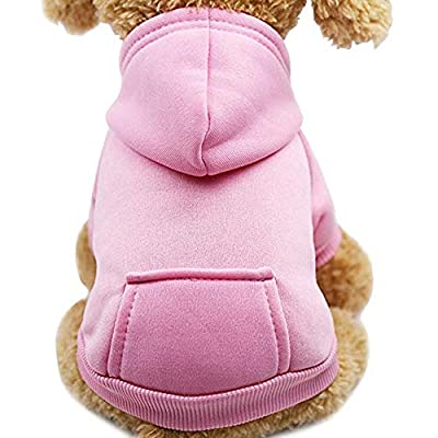 Idepet Dog Cat Hoodie Pet Warm Autumn Winter Coat Solid Color Cotton Dog Clothes with Pocket Outdoor Pullover Dog Jumpsuit for Small Dogs Puppy Teddy Poodle Chihuahua