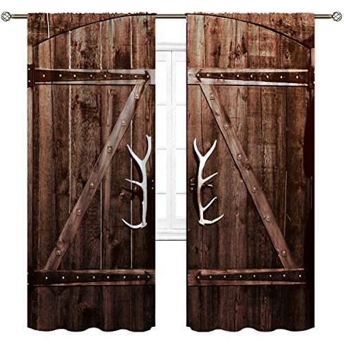 Cinbloo Wooden Barn Door Curtains Rod Pocket White Garage Gate Vintage Rustic Country Antler Handles Art Printed Living Room Bedroom Window Drapes Treatment Fabric 2 Panels 52 (W) x 84(L) Inch