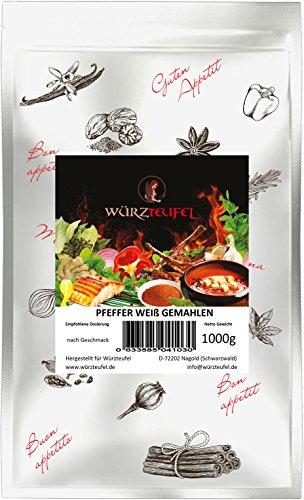 Pfeffer weiß gemahlen, Premiumqualität aus Brasilien, Keimreduziert. Beutel 1000g. (1KG).