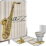 Juego de cortinas baño Accesorios baño alfombras Decoración de música jazz Alfombrilla baño Alfombra contorno Cubierta del inodoro Cuadro clásico de saxofón jazz estampado sobre fondo liso estilo vint