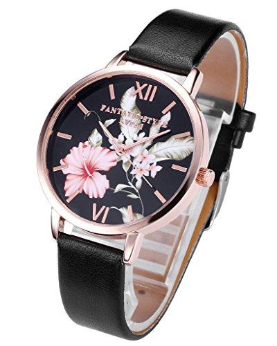 JSDDE Damen Armbanduhr Analog Quarz mit PU Lederband Vintage Klassische Blumen Basel-Stil Schwarz