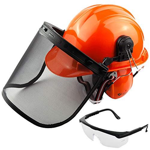Spares2go Casco de seguridad para motosierra con visera de malla, orejeras, correa para la barbilla y gafas