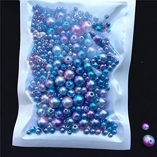 150-200Pcs / Pack Mix Size 3/4/5/6 / 8mm Cuentas con agujero Perlas coloridas Perlas de imitación acrílicas redondas DIY para hacer joyas Nail-Mix Tamaño C02