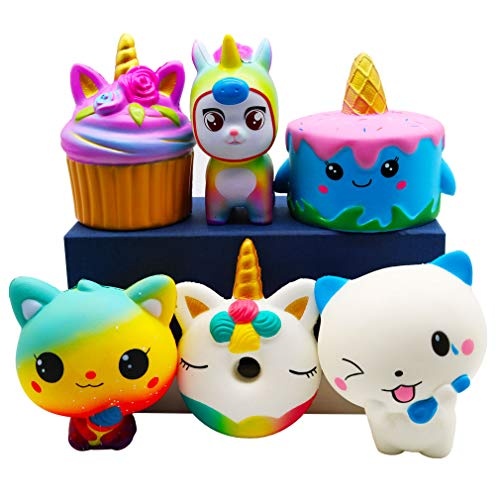 YOAUSHY 6 Pack Squishies Toys Set Slow Rising Jumbo Unicorn Cake Donut Cat Squishy for Kids Christmas Stocking Stuffer,Party Favor Treasure Box Classroom Prizes