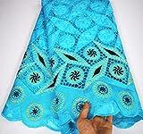 DACCU GRAU 2020 Neueste bestickte Bazin-Reiche mit Tüllspitzenstoff African Bazin-Stoff für Damenkleid SLC828, 3