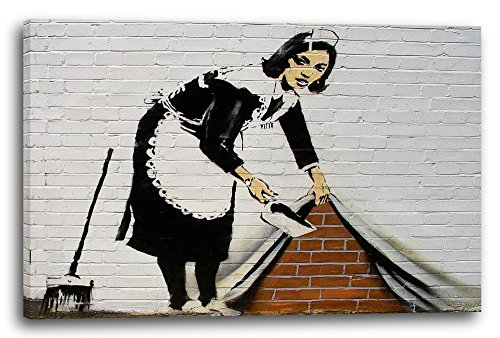 Printed Paintings Leinwand (100x70cm): Banksy - Putzfrau kehrt Dreck unter Wand-Bemalung Graffiti