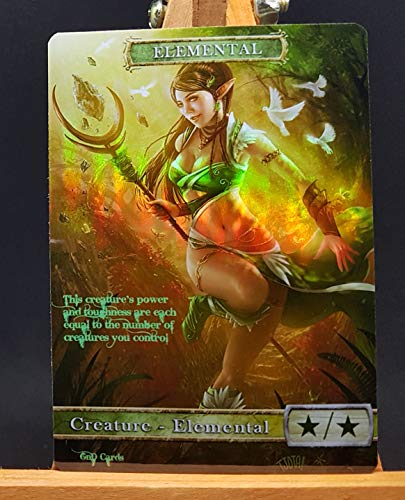 GnD Cards 1x G/W Elemental #2 FOIL Laminated Custom Altered Token (for Voice of Resurgence)