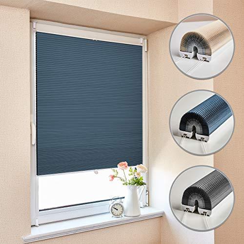 Atlaz Waben Plisseerollo Klemmfix, Thermo 100% Verdunklung, Doppelseitig Zweifarbig Weiß-Blau 40x130cm, Wabenplissee für Fenster & Tür, Sonnen-, Sicht- & Schallschutz Wärmeisolierung, Kein Geruch